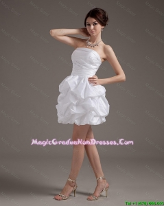 Latest Short Strapless White Graduation Gowns with Pick Ups