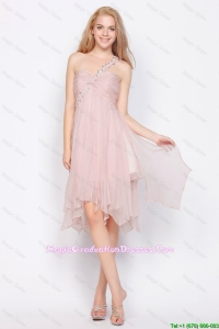 Luxurious One Shoulder Beading Graduation Dresses in Light Pink