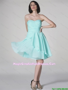 New Style Side Zipper Ruched Short Graduation Dresses with Sweetheart