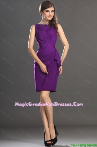 Popular Column Bateau Beaded Graduation Dresses in Purple