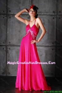 Pretty Empire Spaghetti Straps Criss Cross Graduation Dresses with Beading