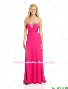 Pretty Empire Sweetheart Graduation Dresses with Brush Train in Hot Pink