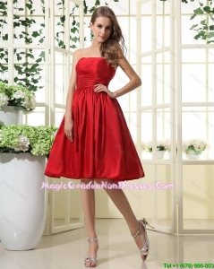 Comfortable Ruching and Pleats Short Graduation Dresses in Red for 2016