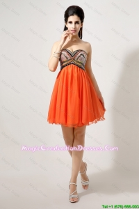 Latest Beaded and Sequined Graduation Prom Dresses in Orange