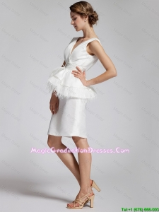 Popular White Column V Neck Graduation Dresses with Feather