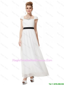 Pretty Empire Square Ankle Length White Graduation Dresses with Sashes