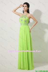 Pretty Halter Top Beaded Graduation Dresses in Spring Green