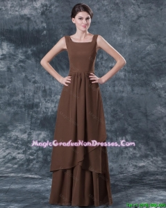 Discount Straps Brown Graduation Dresses with Ruching