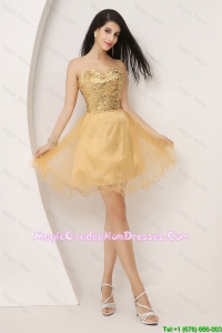 Luxurious A Line Gold Sweetheart Graduation Dresses with Lace Up