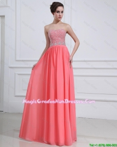 2016 Popular Watermelon Sweetheart Graduation Dresses with Beading