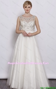 Beautiful A Line Scoop White Graduation Dresses with Beading