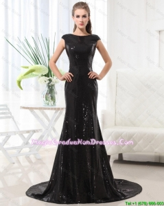 Beautiful Column Bateau Brush Train Sequins Graduation Dresses in Black
