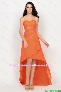 Beautiful High Low Orange Graduation Dresses with Beading for 2016