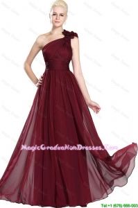 Beautiful Ruched Burgundy Graduation Dresses with One Shoulder