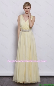 Classical V Neck Empire Graduation Dresses with Sash