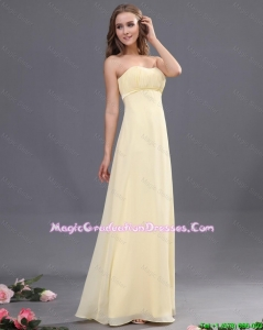 Discount Sweetheart Ruching Light Yellow Graduation Dresses