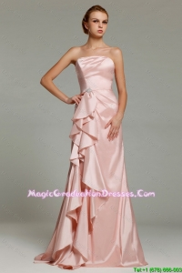 Hot Sale Strapless Beaded Graduation Dresses with Brush Train