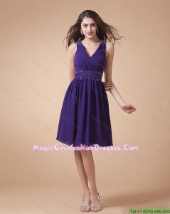 Comfortable V Neck Beading Short Amazing Graduation Dresses in Eggplant Purple