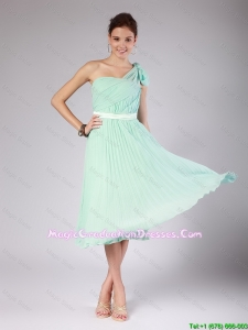 Discount One Shoulder Side Zipper Amazing Graduation Dresses in Apple Green