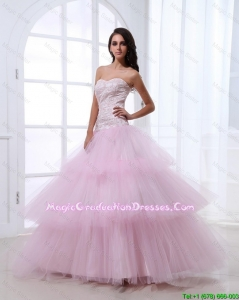 Wonderful Sweetheart Baby Pink Amazing Graduation Dresses with Sequins and Ruffled Layers