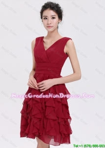 Beautiful V Neck Ruffles Short Discount Graduation Dresses in Burgundy