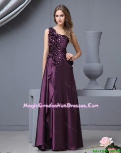 Elegant One Shoulder Beaded Amazing Graduation Dresses with Hand Made Flowers