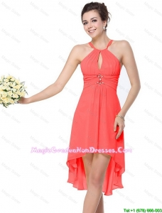 Luxurious High Low Beaded Discount Graduation Dresses with Criss Cross