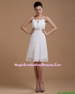 Most Popular Straps White Short Amazing Graduation Dresses with Beading