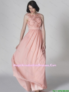 New Style Scoop Pink Amazing Graduation Dresses in Lace