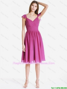 Perfect V Neck Ruching and Pleats Short Amazing Graduation Dresses