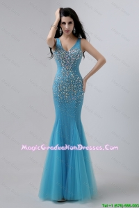 Luxurious Mermaid Beaded Discount Graduation Dresses with V Neck