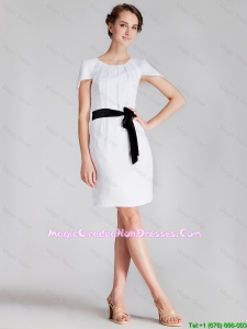 2016 Perfect Short Scoop White Fashionable Graduation Dresses with Sashes