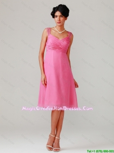 Brand New Straps Ruching Short Fashionable Graduation Dresses in Hot Pink