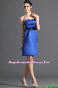 Comfortable Belt and Hand Made Flower Short Fashionable Graduation Dresses