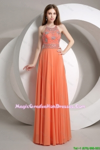 Elegant Beaded Empire Orange Fashionable Graduation Dresses with Halter Top