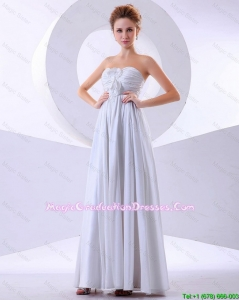 Elegant Hand Made Flowers Empire Discount Graduation Dresses in White