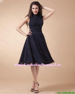 Elegant High Neck Hand Made Flowers Discount Graduation Dresses in Navy Blue
