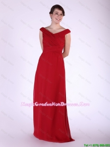 New Arrival V Neck Wine Red Long Discount Graduation Dresses with Ruching