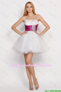 Pretty White Princess Short Discount Graduation Dresses with Beading and Belt
