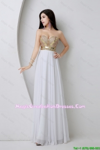 Beautiful Empire Sequined White Fashionable Graduation Dresses with Beading