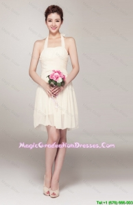Beautiful Halter Top Short Fashionable Graduation Dresses in Champagne