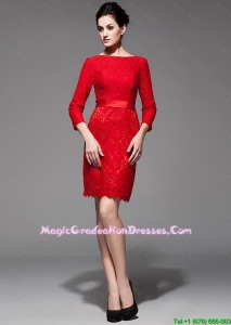 Custom Made 2016 Lace 3/4 Sleeves Short Red Fashionable Graduation Dresses with Belt