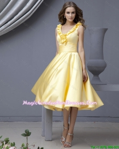 Perfect V Neck Yellow Short Fashionable Graduation Dresses with Ruffles for 2015 Autumn