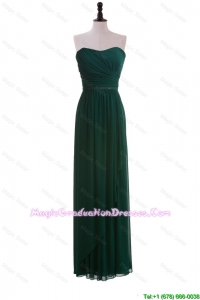 2016 Custom Made Empire Strapless Ruching Discount Graduation Dresses in Dark Green