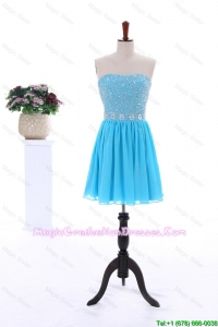 2016 Summer Short Strapless Discount Graduation Dresses with Beading in Baby Blue