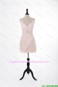 Brand New 2016 Short Light Pink Discount Graduation Dresses with Beading