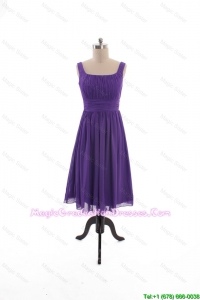 2016 Fall Perfect Square Short Graduation Dresses with Belt in Purple