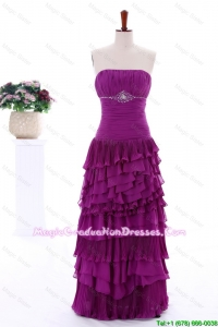 2016 Winter Popular Empire Strapless Beaded Graduation Dresses with Ruffled Layers