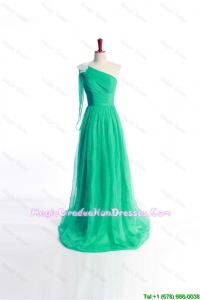 Affordable Appliques Green Long Graduation Dress with Sweep Train for 2016