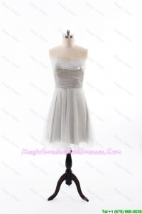 Custom Made 2016 Summer Short Graduation Dress with Sequins and Belt
